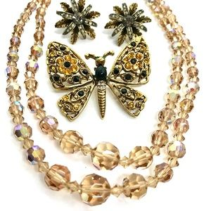 Vintage Jewelry Lot Necklace Brooch Earrings Bling
